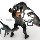Dinosaurier-Jäger-Spielszene
