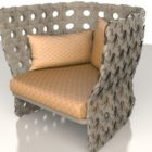 Outdoor Upholstered Rattan Chair