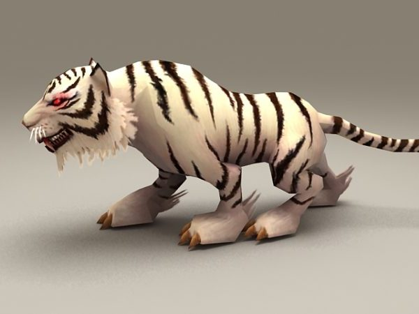 Tigre blanco Rigged Y animado