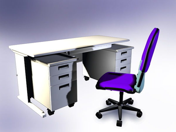 White Office Desk With Hutch Free 3d Model - .Dxf, .Max ...