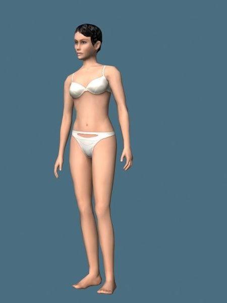 Woman In Underwear Rigged