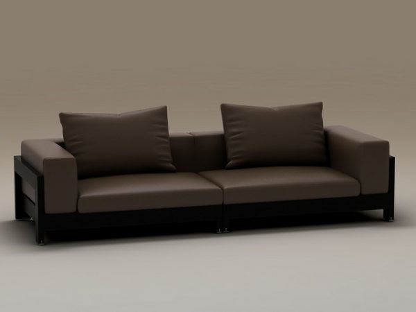 Wood Base Two-seater Cushion Couch