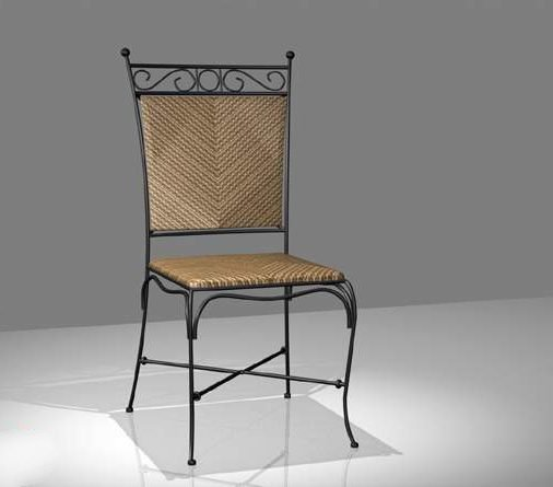 Wrought Iron And Wicker Dining Chair Free Model Max Vray