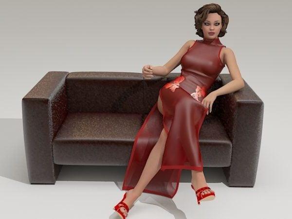 Nuori nainen sohvalla