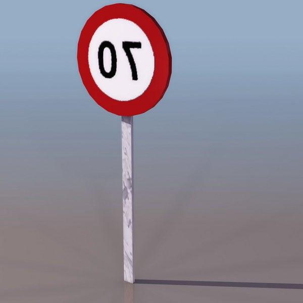 Señal de carretera de límite de velocidad 70km