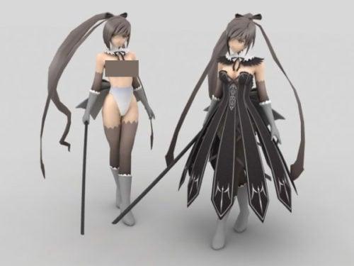 Anime tyttö taistelija miekkahahmo