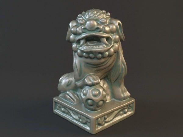 تمثال أسد برونزي صيني قديم