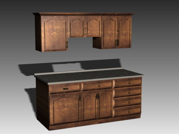 Antique Wooden Kitchen Cabinets Free 3d Model 3ds Dwg Max Vray Open3dmodel 195730
