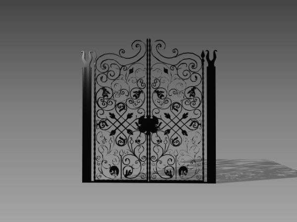 Antique Old Wrought Iron Garden Gate