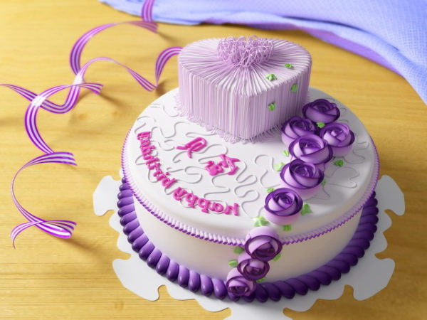 Purple Style Birthday Cake