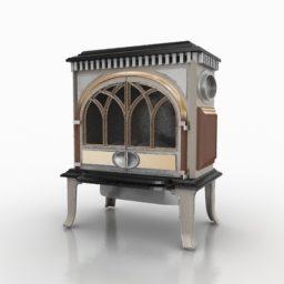 ウッドバーニング無料の3dモデルと鉄の暖炉をキャスト 3ds Open3dmodel