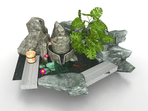 Chinese Rock Fountain Garden Design