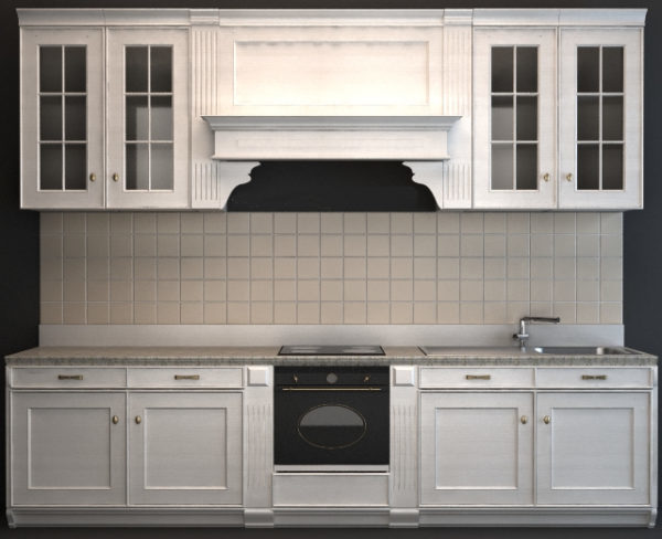 Western Wooden Classic Kitchen Cabinet Free 3d Model 3ds Max Obj Vray Open3dmodel 201021