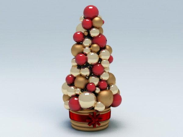 Red Christmas Ball Tree