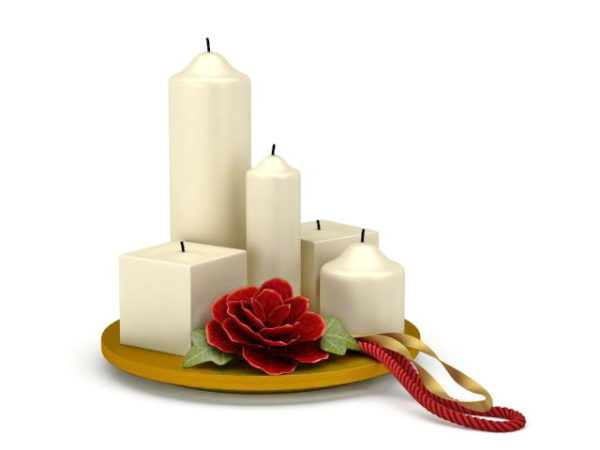 Party Decoration Candles With Flower