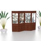 شاشة قابلة للطي الخشب مع النبات