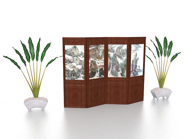 Biombo de madera con planta