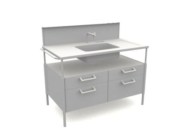 Free Standing Kitchen Cabinet Sink Free 3d Model Max Vray Open3dmodel 200403