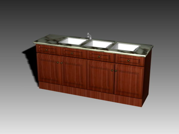 Standing Kitchen Cabinets With Sink Free 3d Model 3ds Dwg Max Vray Open3dmodel 195789