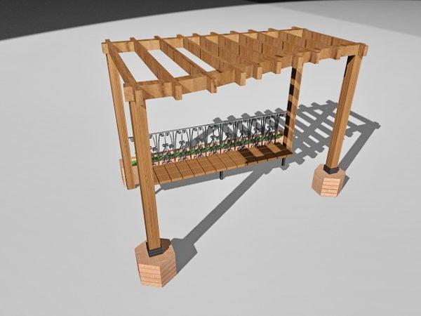 Garden Wooden Pergola With Bench