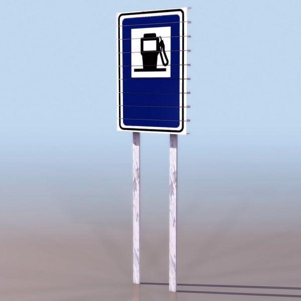 Señal de carretera de gasolinera