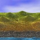 風景の丘の崖の地形