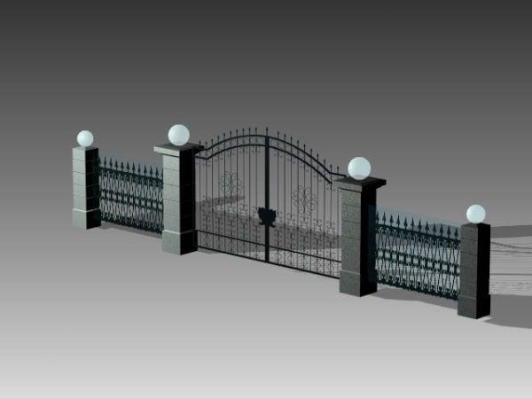 Puerta de entrada de metal de la casa