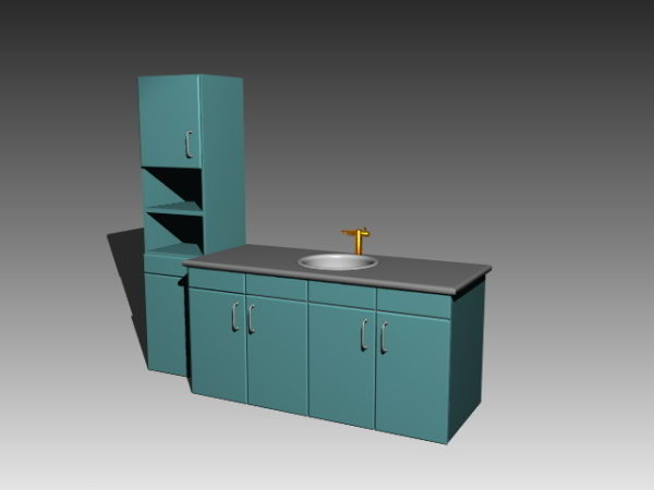 Armadio A Muro Dwg.Kitchen Simple Sink Cabinet Free 3ds Max Modello 3ds Dwg