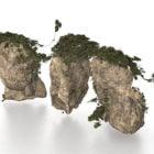 庭の岩と緑の葉