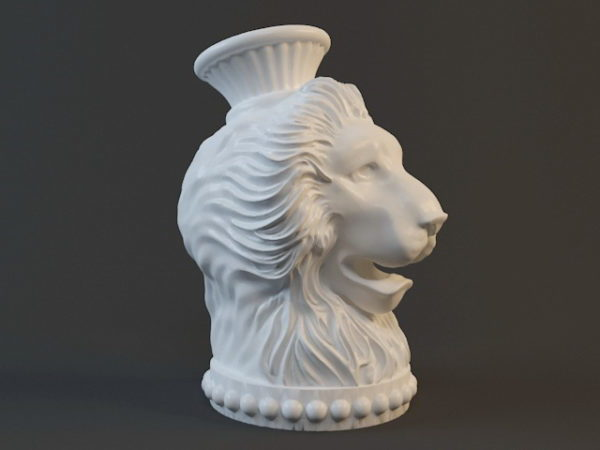 Antiikki leijonanpääveistos