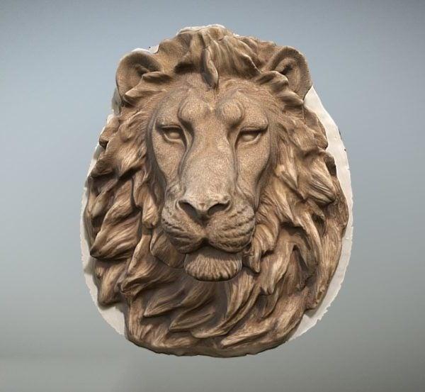 Escultura de pared de cabeza de león occidental