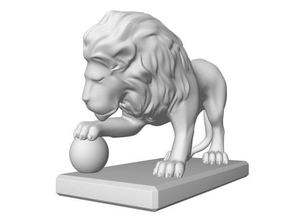 Estatua De León Con Pelota
