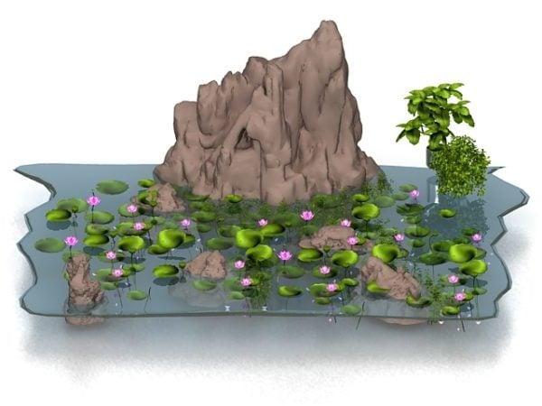 Lotus Pond With Rockery Decoration