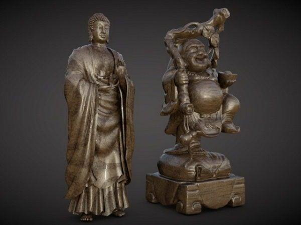 Antigua estatua de Buda Maitreya