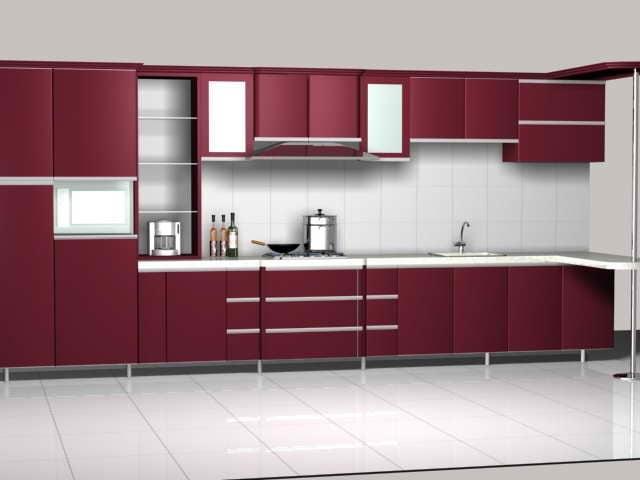 Maroon Kitchen Cabinet Design Free 3d Model - .Max, .Vray ...
