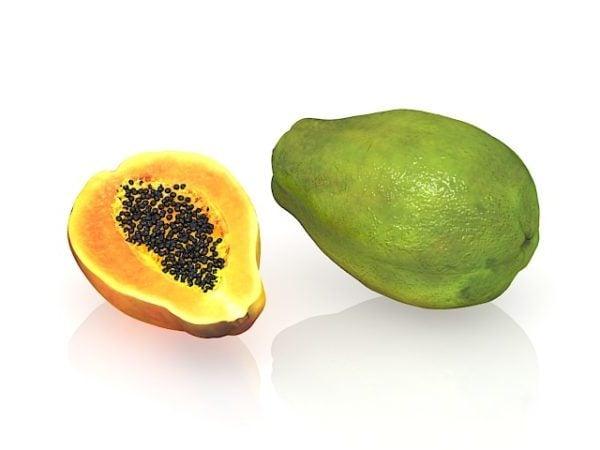 فاكهة البابايا مع مقطع عرضي