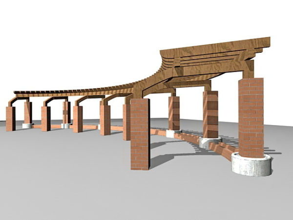 Wooden Pergola Brick Pillars