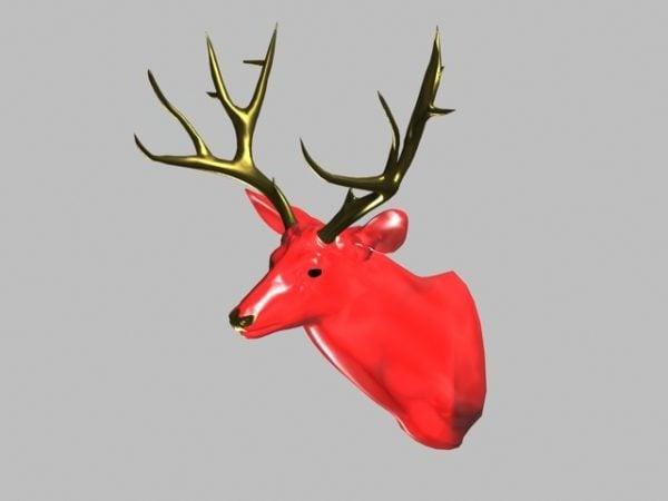 Decoración de pared de cabeza de ciervo rojo