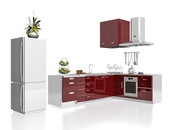 Red White House Kitchen Cabinets Free 3d Model Max Vray Open3dmodel 185265