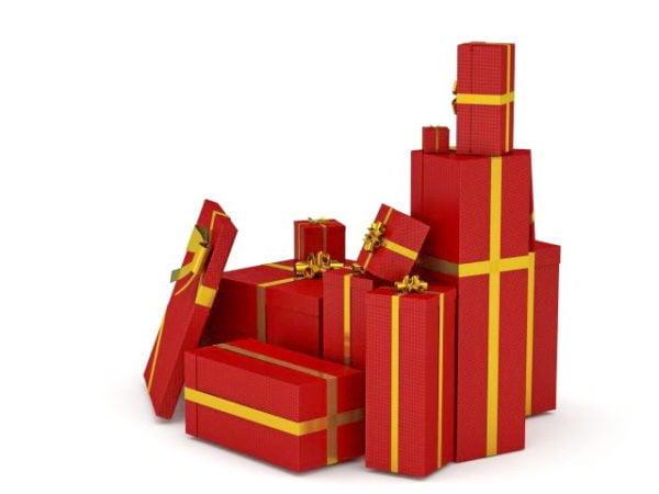 Punainen joululahjalaatikot