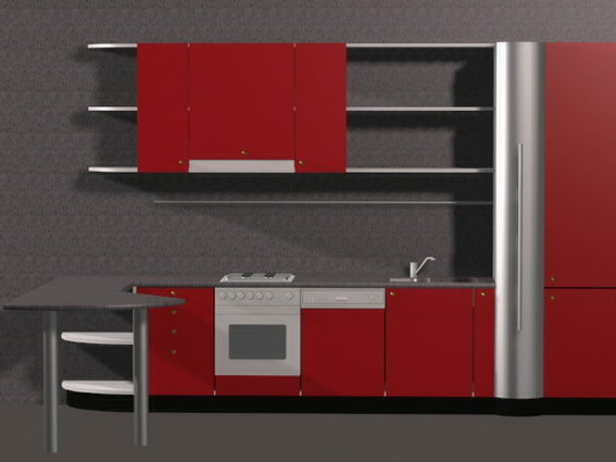 Red Kitchen Cabinets Modern Style Free 3d Model 3ds Max Vray Open3dmodel 187224
