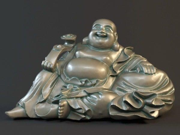 Antiguo sentado riendo estatua de Buda
