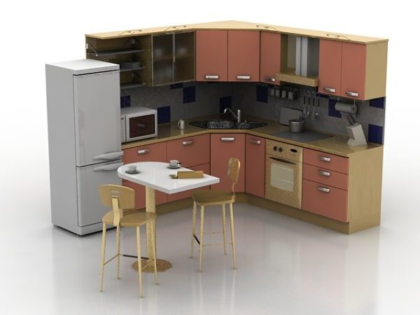 Small L Corner Kitchen With Food Free 3d Model Max Vray Open3dmodel 194950