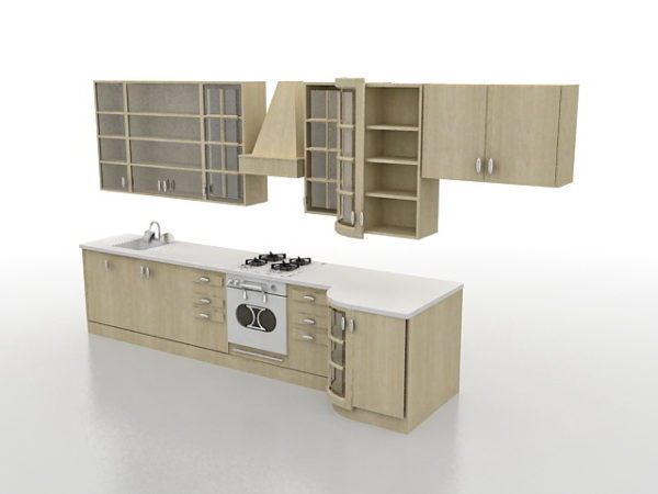 3d Kitchen Cabinet Design Small Kitchen CabiDesign Free 3d Model   .Max, .Vray