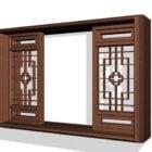 Fenêtre traditionnelle en bois de style chinois