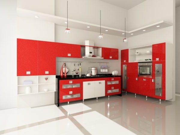 White Red Color Kitchen Design Free 3d Model Max Vray Open3dmodel 198998