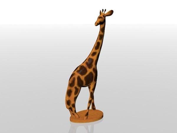 Wooden Giraffe Sculpture Statue