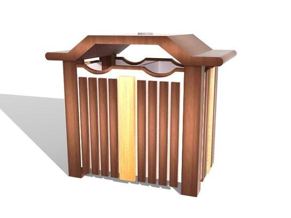 Outdoor Wood Recycle Bin