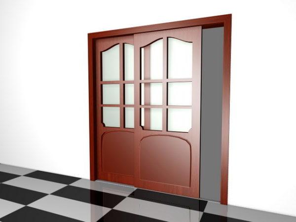 Inicio Puerta corredera de madera con vidrio