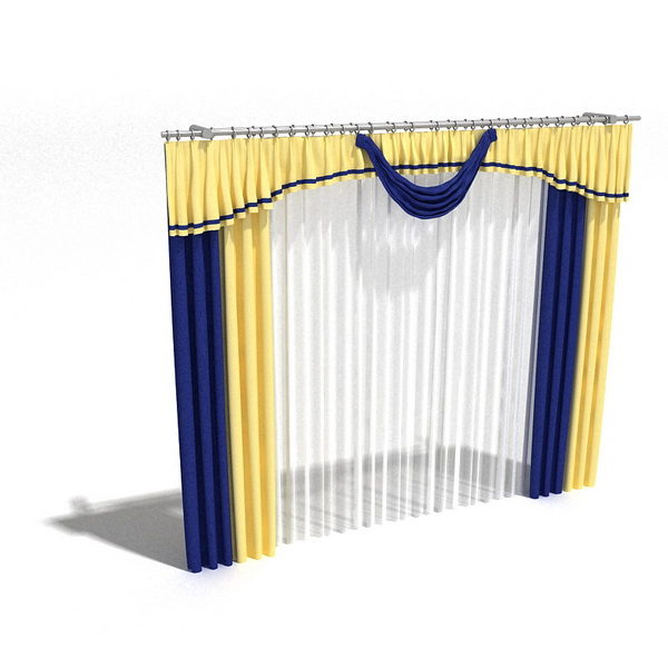 Yellow Blue Drape Curtain With Sheer Free 3d Model - .3ds ...